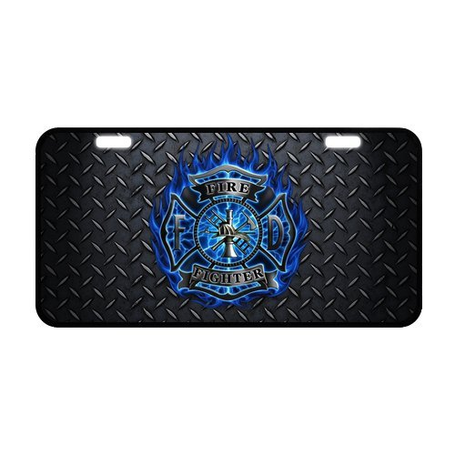 Black Friday Discount Fireman Fire Rescue Blue Flames Strong Aluminum Car License Plate 11.8