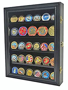 Lockable 30 Military Challenge Coin Casino Chip Display Case Shadow Box, Solid Wood, COIN30-BLA