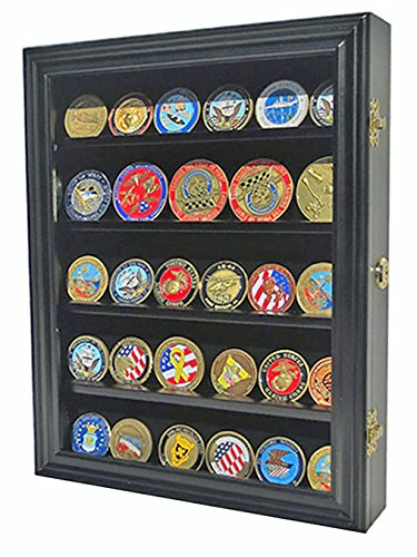 LOCKABLE Military Challenge Coin Display Case Cabinet Rack Shadow Box Wood, COIN30-BL Coin Shadow Boxes