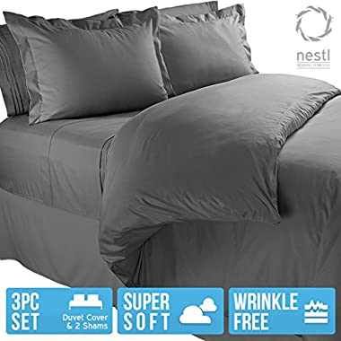 Nestl Bedding Microfiber Queen 3-Piece Duvet Cover Set with 2 Pillow Shams, Charcoal Grey