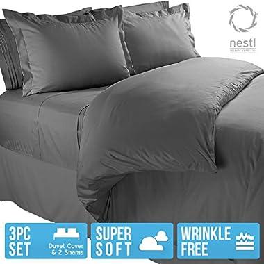Nestl Bedding Microfiber Queen 3-Piece Duvet Cover Set with 2 Pillow Shams, Charcoal Grey