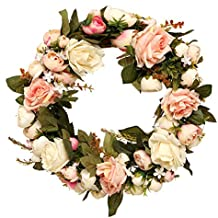 KINGSO Natural Peony Wreath-Flower Garland for Home Wall Front Door Wedding Decorations Pink 32cm