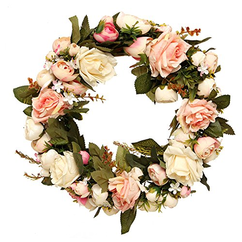 KINGSO Natural Peony Wreath-Flower Garland for Home Wall Front Door Wedding Decorations Pink 32cm (Peony Garden Water)
