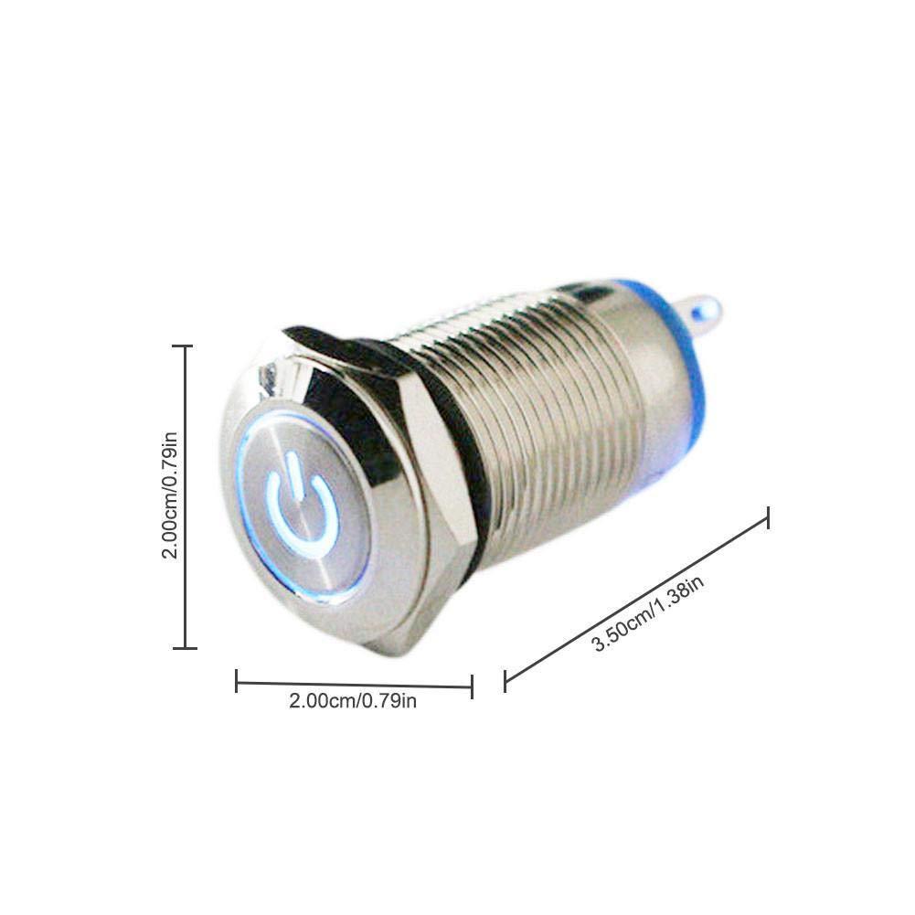 iBelly Impermeabile in Acciaio Inossidabile Argento Interruttore Automatico a Pulsante in Metallo 16MM 12V 24V