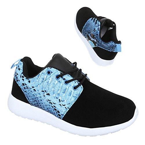 Ital-Design - Zapatillas de Material Sintético para mujer Negro - Schwarz Blau