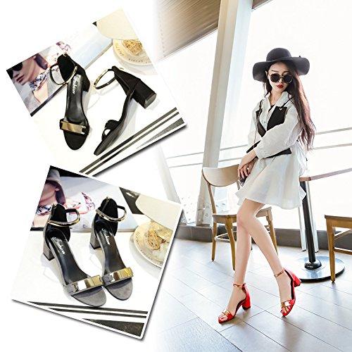Sandalen Sandalen und Sommer hundert dick Schnalle komfortabel entspannend Damen Metall WHLShoes gules Pailletten Frauen Wort Studenten von ein mit n5t4Cx