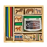 : Melissa & Doug Wooden Stamp Activity Set: Horse Stable - 10 Stamps, 5 Colored Pencils, 2-Color Stamp Pad