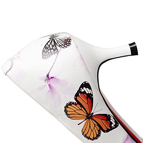 Nine Seven Cuero Moda Puntiagudos Tacones de Aguja con Flores de Vestir para Mujer blanco