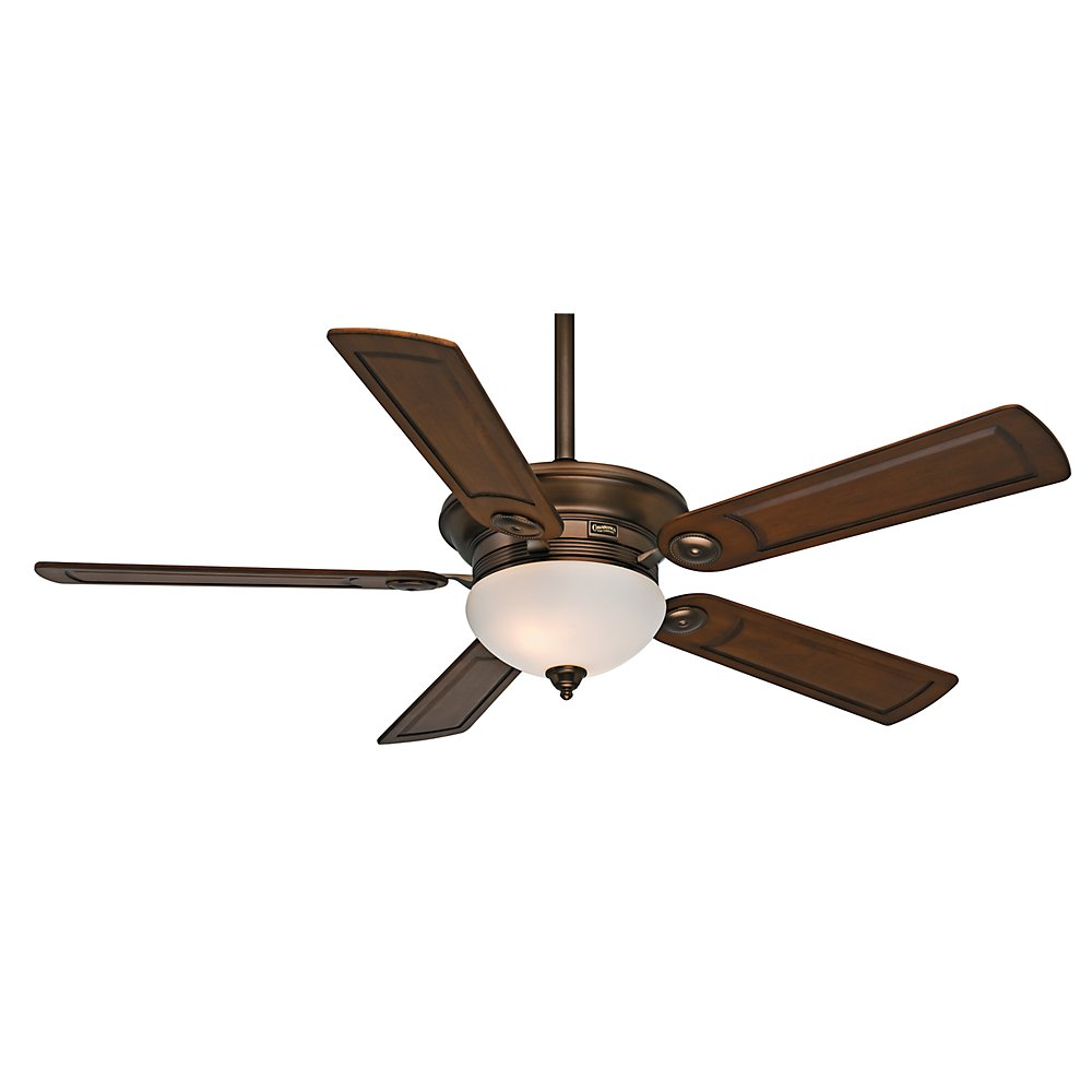 Casablanca 59061 Whitman 54-Inch Ceiling Fan with Five Walnut Blades, Wall Control and Light, Bronze Patina by Casablanca