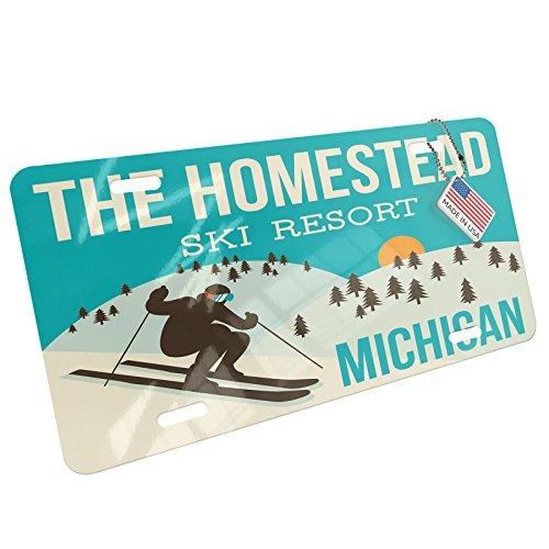 Metal License Plate The Homestead Ski Resort - Michigan Ski Resort - Neonblond