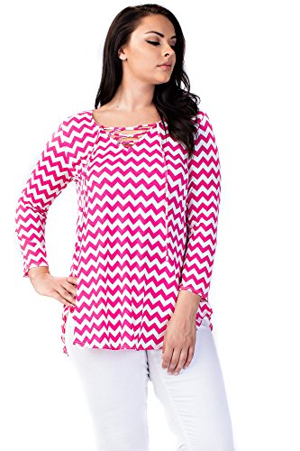 Zig Zag Knit Top (Allora Betsy Red Couture Women's & Plus Size Long & 3/4 Sleeve Soft Knit Tunic Top (2X, Fuchsia White Zig Zag))