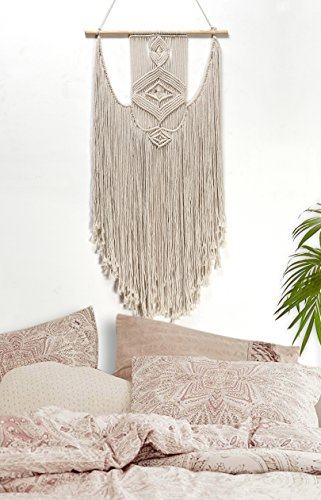 "RawyalCrafts Handmade Macrame Wall Hanging- Woven Wall Art- Macrame- Boho Wall Pediments- 36""L X 18""W By"