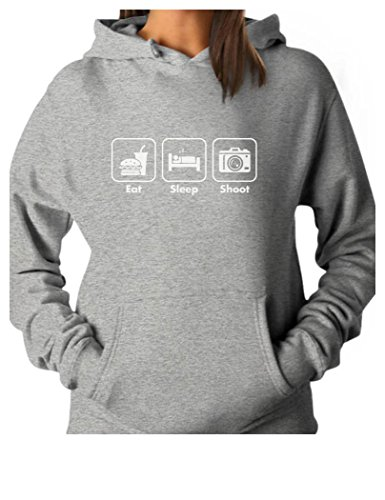TeeStars - Eat Sleep Shoot Gift for Photographer Women Hoodie Medium Gray (Ideas Photographer Gift Christmas)