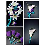 Wedding-Flower-Package-13pc-Jade-light-teal-and-Purple-Artificial-Flowers