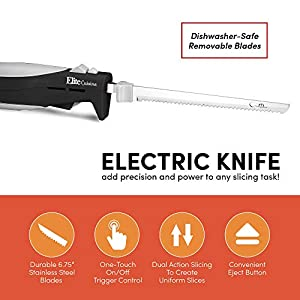 Elite Cuisine EK-570B Maxi-Matic Electric Knife with 2 Serrated Blades and Easy Eject, Black (Stainless Steel)