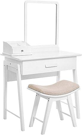 Tocador Dormitorio Dresser Vanidad Juego de mesa con Espejo cuadrado y maquillaje Organizador Tocador 1 cajón grande con Rieles deslizantes Blanca Dresser madera (Color : White , Size : 80*50*135cm) : Amazon.es: Hogar