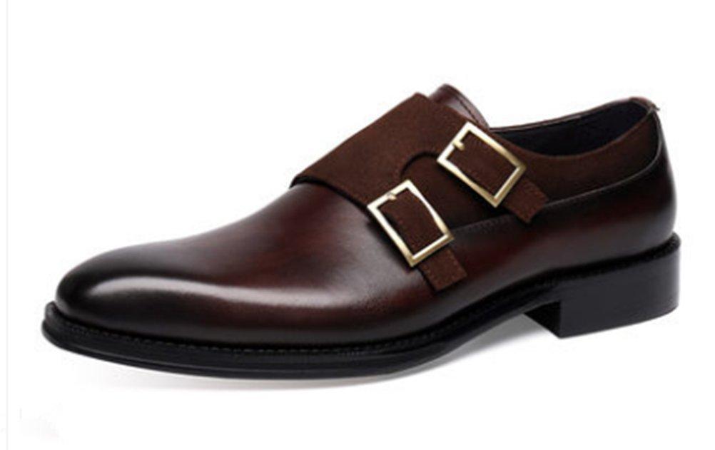 JMH C 商標登録102873 メンズ靴 レザー ビジネスシューズ 配色切替 チゼルトゥ 本革 ダブルモンク ポインテッドトゥ クラシック ヨーロッパ風 結婚式 ストレートチップ 革靴 紳士靴 オフィスシューズ (全2色)CB8388 B07871N56J 24.5(39)|コーヒー コーヒー 24.5(39)