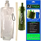 Aztrek Water Purification System | Compact Mini Outdoor Water Filtration Drinking Kit | Camping Water Purifier | Hiking Trekking Emergency | Chemicals-Free | Portable Water Filter System | Drink Straw