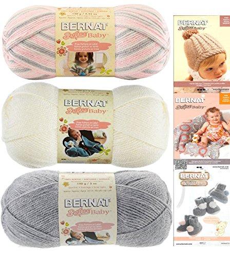 Bernat Softee Baby Acrylic Yarn 3 Pack Bundle Includes 3 Patterns DK Light Worsted #3 Pink Grey White (Pink White Grey)