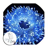 FULLBELL 200LED String Lights 66ft 20M Memory Function Twinkle Decorative Lights 8 Flashing Changing Modes Safe UL Indoor/Outdoor Transparent Line Fairy Lights for Christmas Festival Decoration, Blue