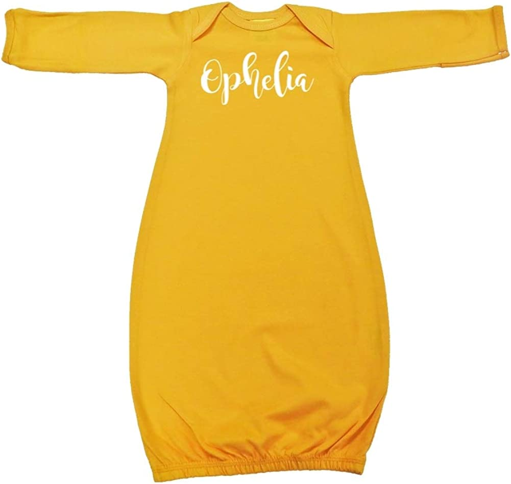 Personalized Name Baby Cotton Sleeper Gown Mashed Clothing Ophelia