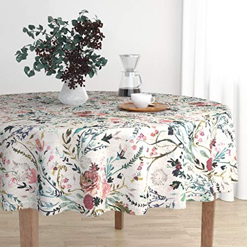 Roostery Round Tablecloth - Floral Bohemian Vintage Inspired Floral Floral Vintage Blush Modern Home Decor by Nouveau Bohemian - Cotton Sateen Tablecloth 90in from Roostery