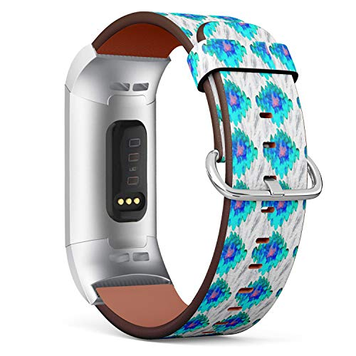 Compatible with Fitbit Charge 3 / Charge 3 SE - Leather Band Bracelet Strap Wristband Replacement with Adapters - Zebra Tribal Tiled Print Animal - Zebra Tribal