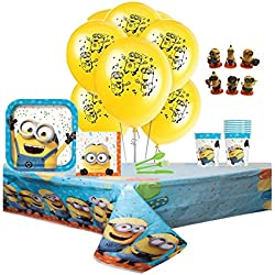 "Despicable Me 3 Complete Birthday Party Pack for 8 Includes 9"" Dinner Plates, Lunch Napkins, Cups, Balloons, Tablecover & Cutlery with Bonus 1pc Minion Action Mini Figure"