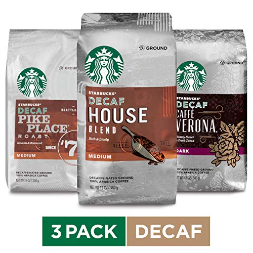 Starbucks Decaf Ground Coffee Variety Pack, Three 12-oz. Bags