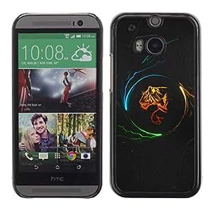 Be Good Phone Accessory // Dura Cáscara cubierta Protectora Caso Carcasa Funda de Protección para HTC One M8 // Tiger Profile Art Portrait Fire Big Cat Wild Neon