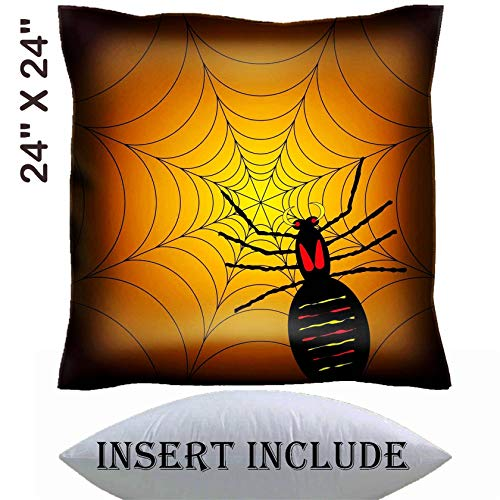 24x24 Throw Pillow Cover with Insert - Satin Polyester Pillow Case Decorative Euro Sham Cushion for Couch Bedroom Handmade IMAGE ID: 1729325 illustration of a halloween spider on its web with a or]()