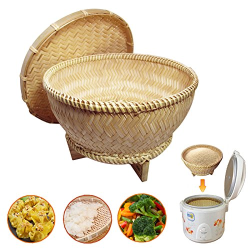 Oriental Style Bamboo Food Steamer Handcrafted Asian Basket Rice Cooker Food Container Box Cookware for vegetables, meats, fish etc.
