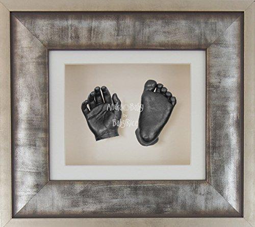 BabyRice 3D Baby Boy Casting Kit Urban Metal Effect Frame Pewter Foot Casts by BabyRice