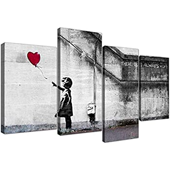 """Large Banksy Balloon Girl Canvas Wall Art - Red Heart Split Set 4 Pictures - 130cm / 51"""" Wide - Prints - There is Always Hope"""