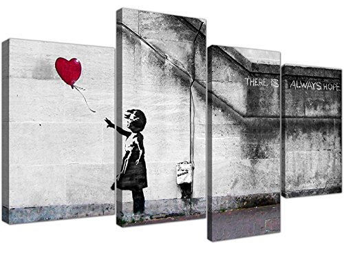 Bed Canvas Bedroom - Large Banksy Wall Art Canvas Print - Red Balloon Girl - Framed Pictures Set of 4 Panels - 130cm / 51