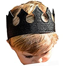 Boy Dress Up Play Time Crown in Midnight Black Glittery Stretchy Birthday Party