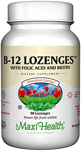 Maxi Health Vitamin B-12 - with Folic Acid and Biotin - Strawberry Flavor - 90 Chewies - Kosher