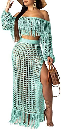Women Sexy Tassels Hollow Out 2 Piece Outfits See Through Off Shoulder Crop Top and Split Maxi Dress Set Bikini Cover up