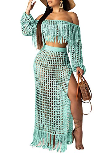 Women Sexy Tassels Hollow Out 2 Piece Outfits See Through Off Shoulder Crop Top and Split Maxi Dress Set Swimwear Bikini Cover up (Cyan, XL)