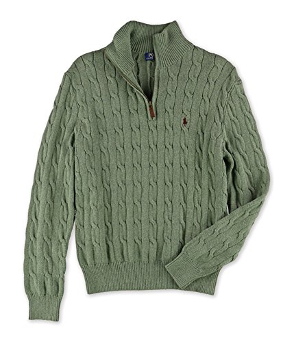 Polo Ralph Lauren Mens Cable Knit 12 Zip Mock Turtleneck Sweater