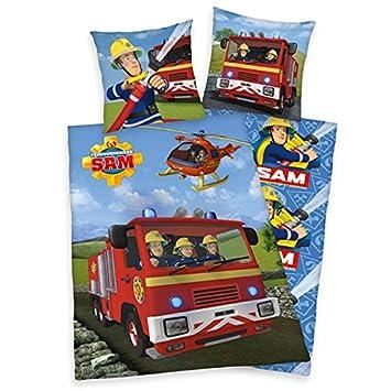 Feuerwehrmann Sam Bettwäsche Mit Wende Motiv 135x200 Cm 80x80 Cm