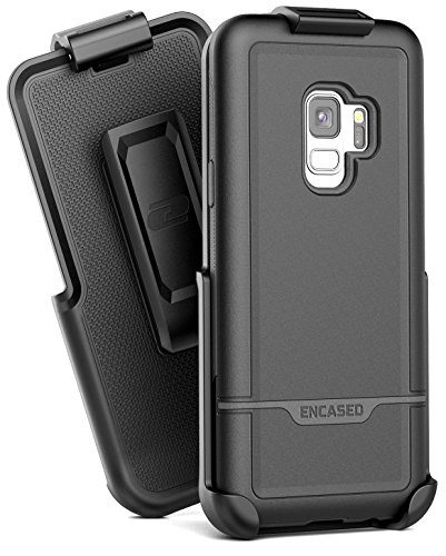 Encased Heavy Duty Galaxy S9 Belt Case, (Rebel Series) Rugged Case with Secure Clip Holster for Samsung Galaxy S9 - Military Spec Drop Protection (Smooth Black)