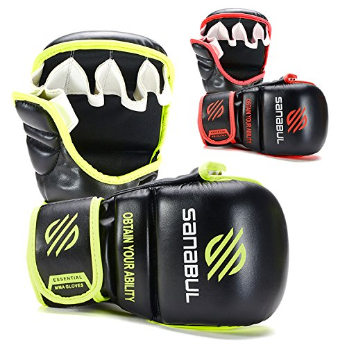 Sanabul New Item Essential 7 oz MMA Hybrid Sparring Glove (Black/Green, Small/Medium)