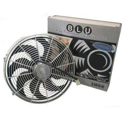 Zirgo 10215 Chrome 14″ 2122 fCFM High Performance Blu Cooling Fan