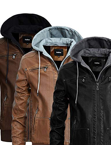 Vegan Leather Jacket Men with Detachable Hood - Classy Model by Hoffen Store (S, Brown)