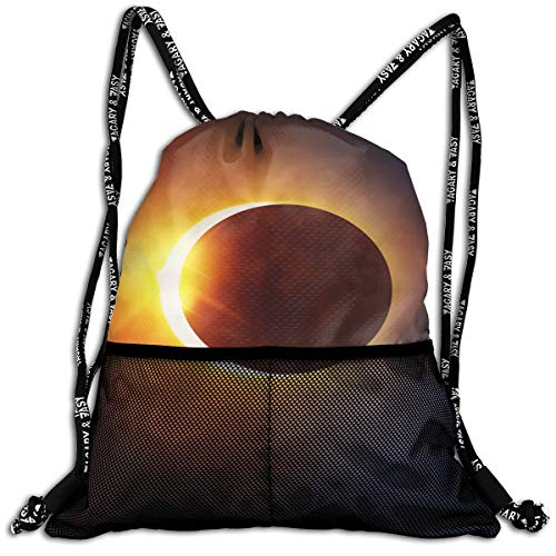 Polyester Drawstring Sack Theft Proof Waterproof Large Shoulder Bags Large Capacity For Basketball, Volleyball, Baseball, Sports & Workout Gear (Solar Eclipse 2017 ()