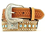 Nocona Boy's Calf Hair Rhinestones Belt, Brown, 22