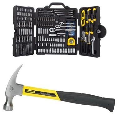 STANLEY STMT73795 Mixed Tool Set, 210-Piece w/ 51-624 20-Ounce Rip Claw Fiberglass Hammer