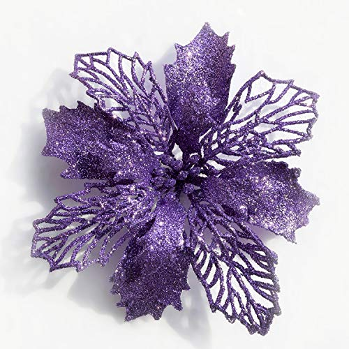 Mobuy Poinsettia Christmas Decorations Christmas Flowers Glitter Christmas Tree Decorations and Ornaments (12 Pack) (Purple)