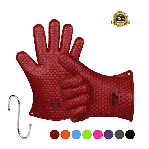 Molecule Insulated Silicone Cooking Gloves BBQ Grill Gloves Best Versatile Heat Resistant Oven Gloves Waterproof For Grilling,Full Finger, Hand, Wrist Protection,Safe Handling of Pots and Pans